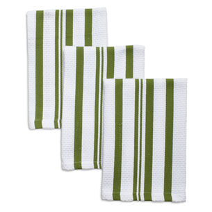 "Olive Striped Dishcloths, 12"" x 12"", Set of 3"