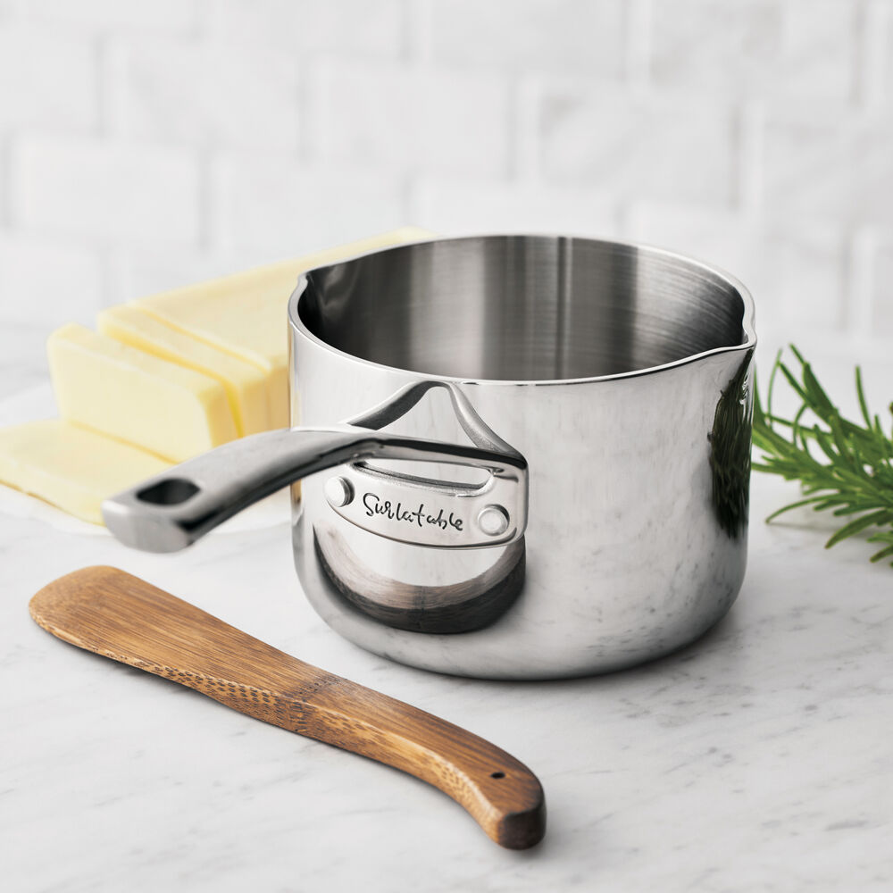 Sur La Table Tri-Ply Stainless Steel Butter Warmer, 0.6 qt.