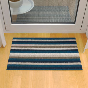 Chilewich Even Stripe Shag Mat, Marine