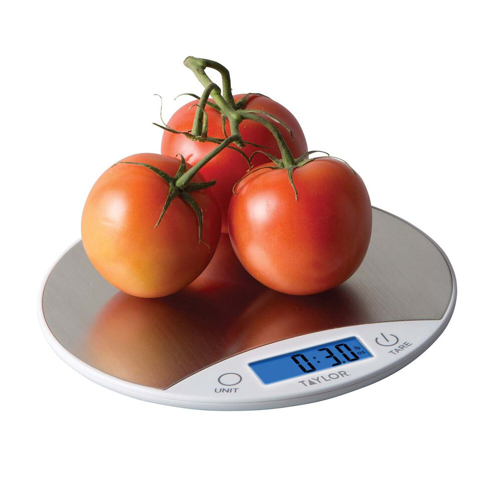 Taylor Round Digital Kitchen Scale Stainless Steel, 11 lb.