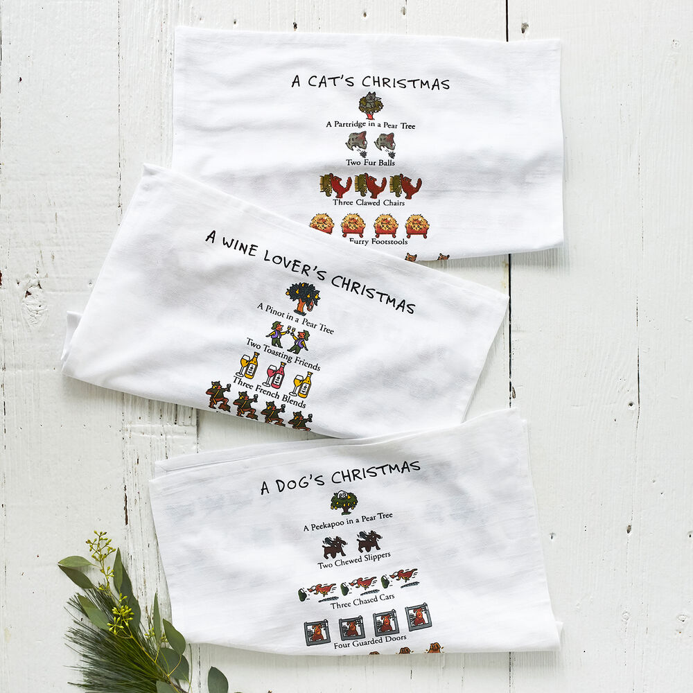 "The Dog Lover's 12 Days of Christmas Flour Sack Towel, 26"" x 18"""