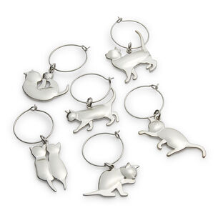 Viski Cat Wine Charms, Set of 6