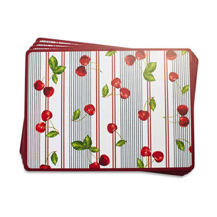 Cherry Stripe Cork-Backed Placemats, Set of 4