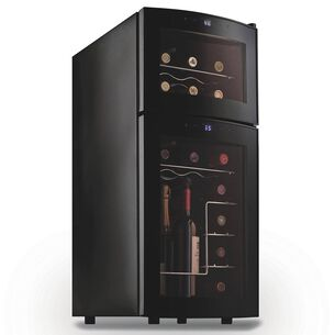 Wine Enthusiast Silent Dual-Zone Wine Refrigerator with Curved Door, 21 Bottle