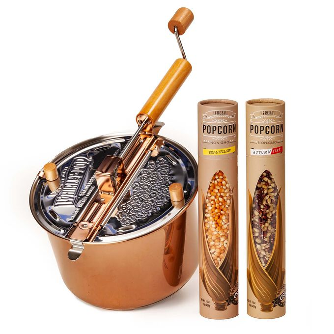 Copper Plated Stainless Steel Whirley Pop with Farm Fresh Popcorn