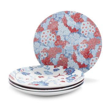 Pique-nique Floral Porcelain Salad Plates, Set of 4