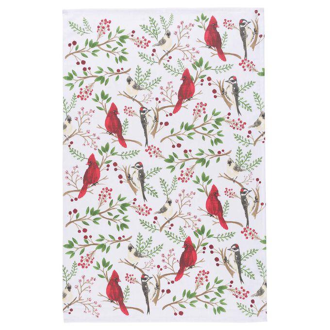 """Winter Birds Kitchen Towel, 28"""" x 18"""""""