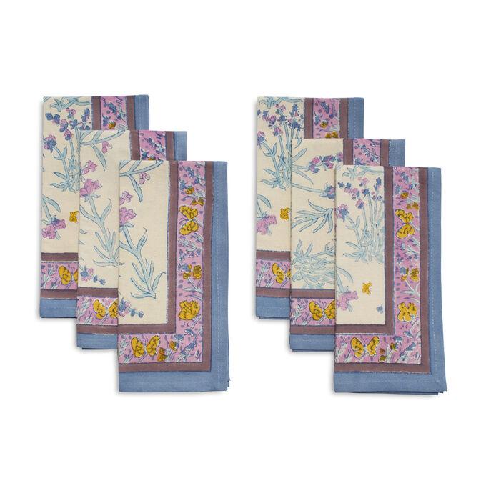 Couleur Nature Papillion Blue Cloth Napkins, Set of 6