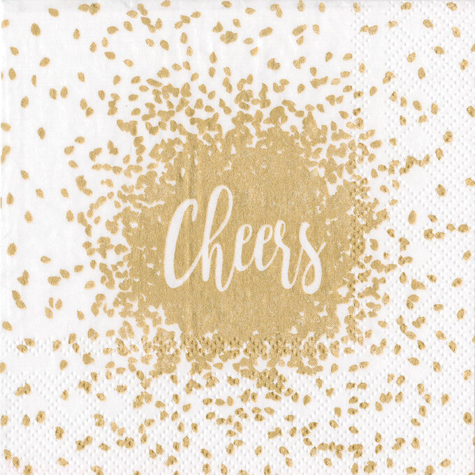 Gold Cheers Cocktail Napkins, Set of 20