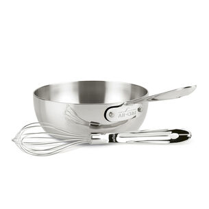 All-Clad d3 Stainless Steel Open Saucier with Whisk, 2 qt.