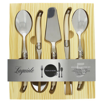 French Home Laguiole Stainless Steel Faux Ivory Handle 5-Piece Serving Set