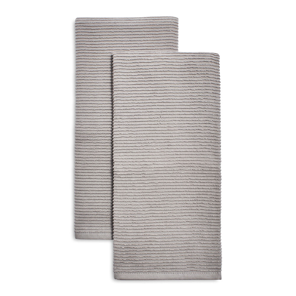 Gray Ribbed Kitchen Towels, Set of 2