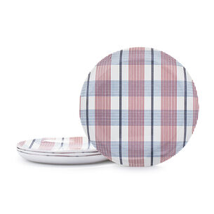 Pique-Nique Plaid Melamine Salad Plates, Set of 4