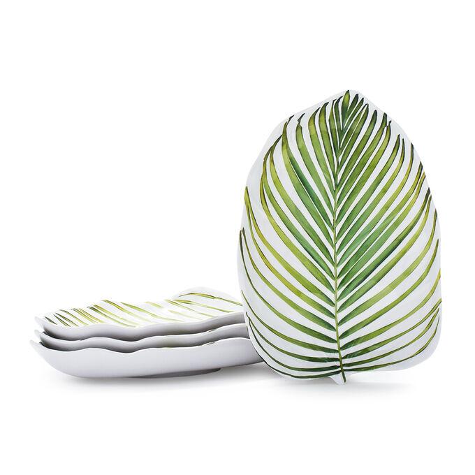Palm-Leaf-Shaped Melamine Plates, Set of 4