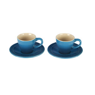 Le Creuset Espresso Cups and Saucers, Set of 2