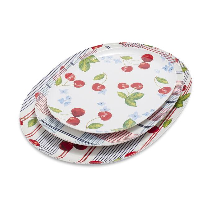 Pique-Nique Melamine Platters, Set of 3