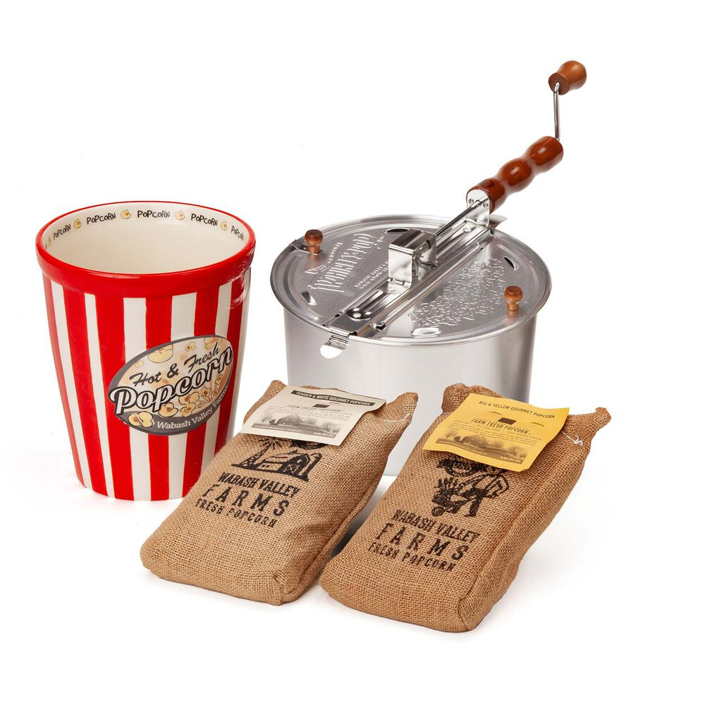 Whirley Pop Stovetop Popcorn Popper with Ceramic Bowl and Popcorn