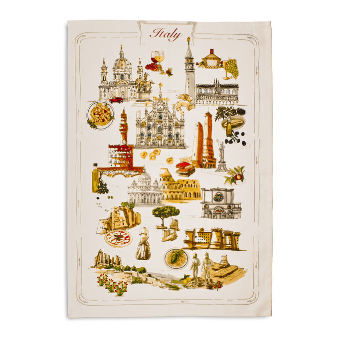 """Italy Map Kitchen Towel, 28"""" x 20"""""""
