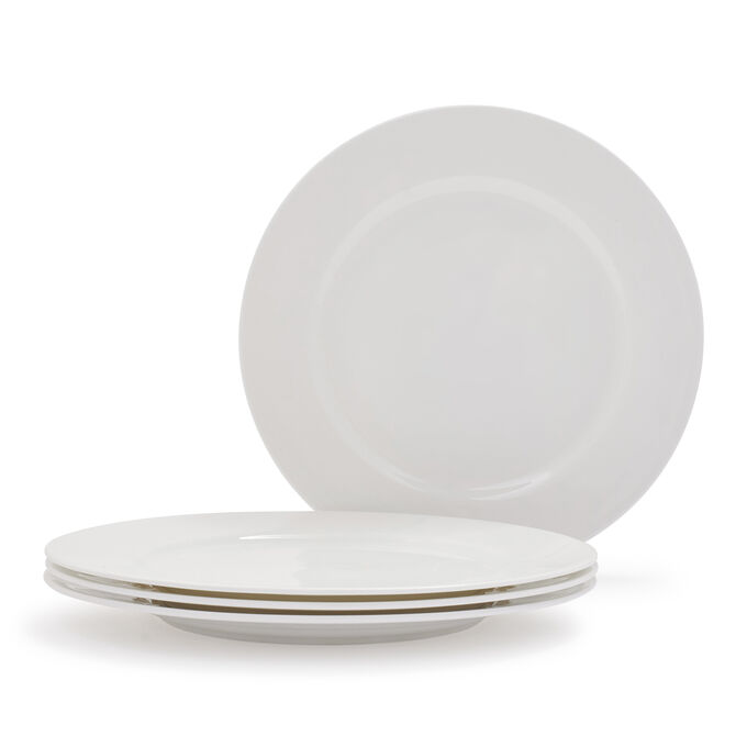 Gourmet Essentials Bone China Classic Dinner Plates, Set of 4