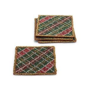 Tartan Beaded Coasters, Set of 4