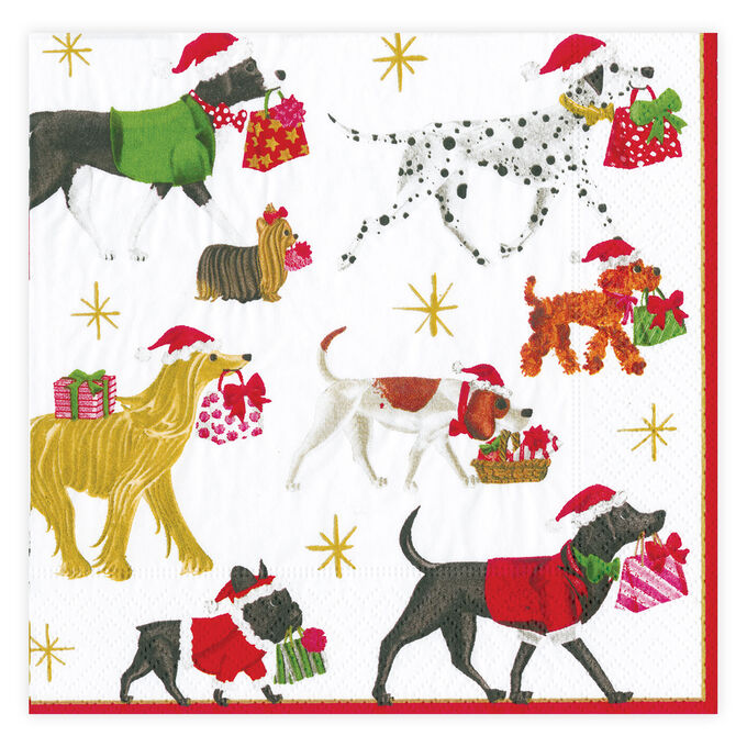 Christmas Delivery Dogs Cocktail Napkins, Set of 20