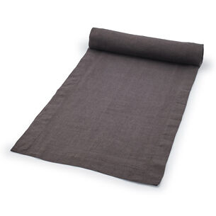 "Charcoal Linen Table Runner, 108"" x 16"""