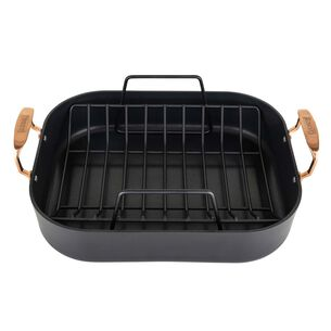 """Viking Hard Anodized Roaster with Copper Handles and Bonus Carving Set, 16"""" x 14"""""""