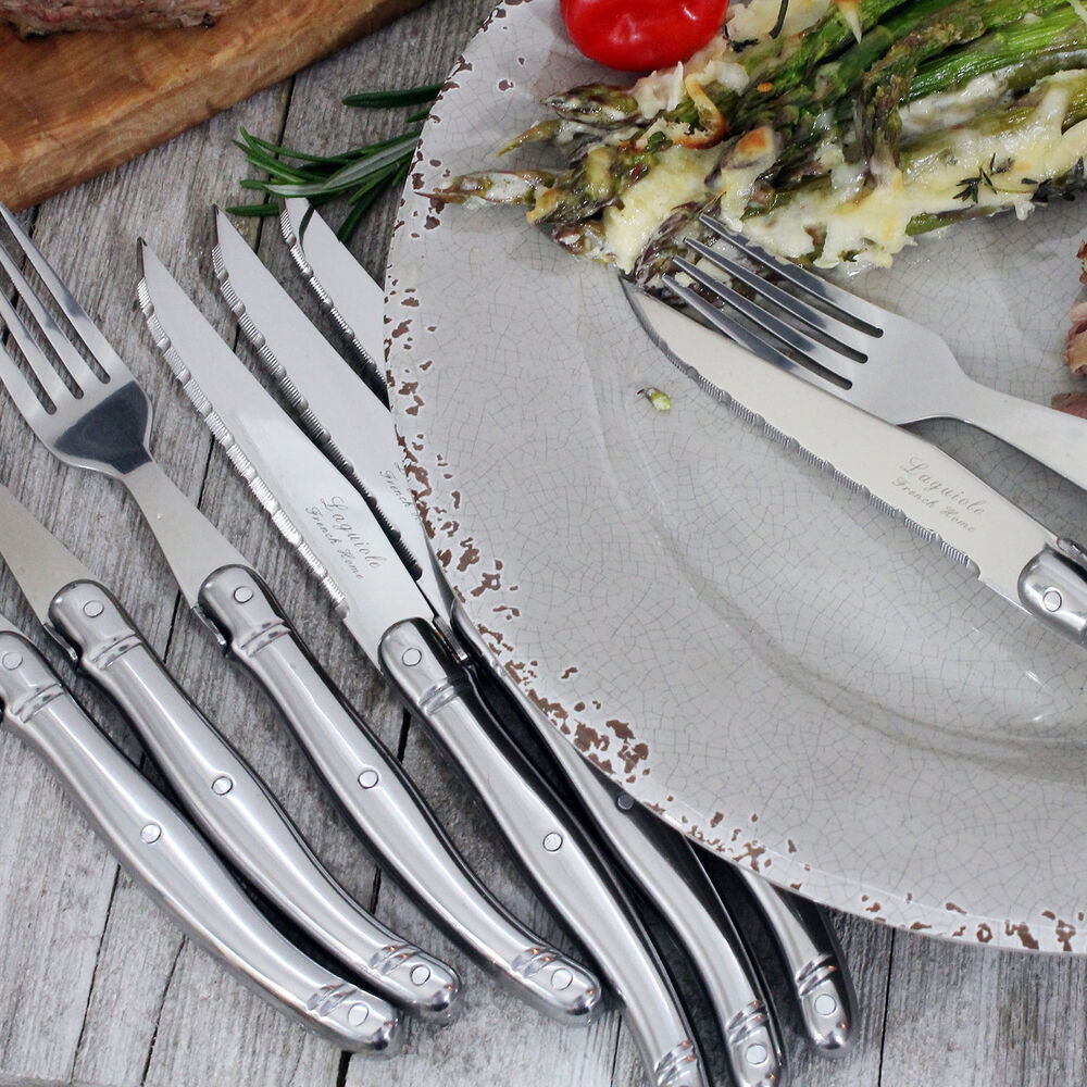 French Home Laguiole Stainless Steel Steak Knife and Fork Set, Set of 8