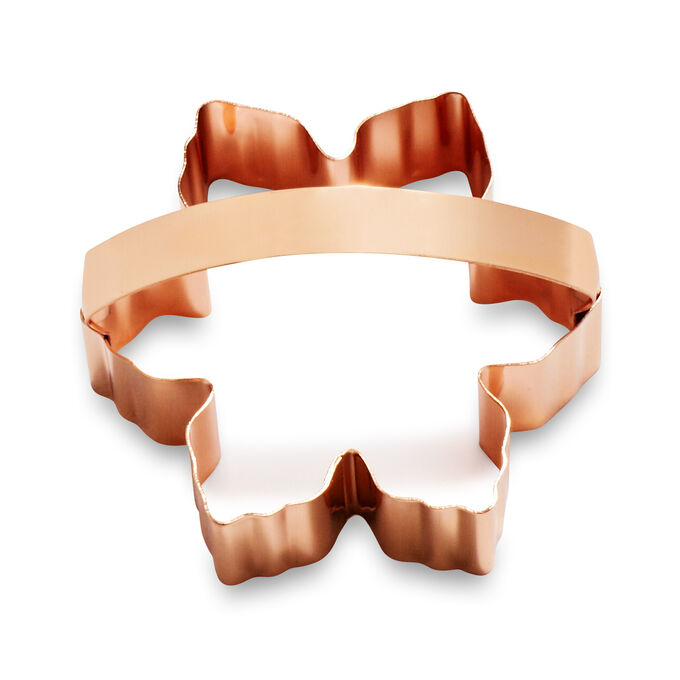 """Copper-Plated Snowflake Cookie Cutter with Handle, 3.5"""""""