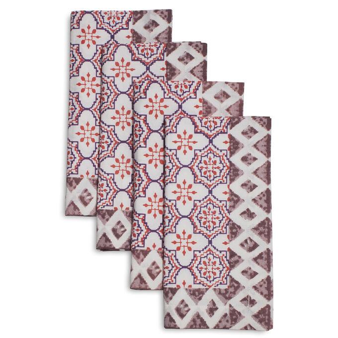 Pink Tile Napkins, Set of 4