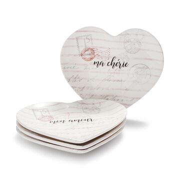 Figural Heart Appetizer Plates, Set of 4
