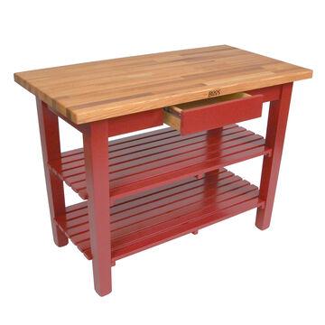 "John Boos & Co. Oak Table With Shelves, 48"" x 24"" x 35"""