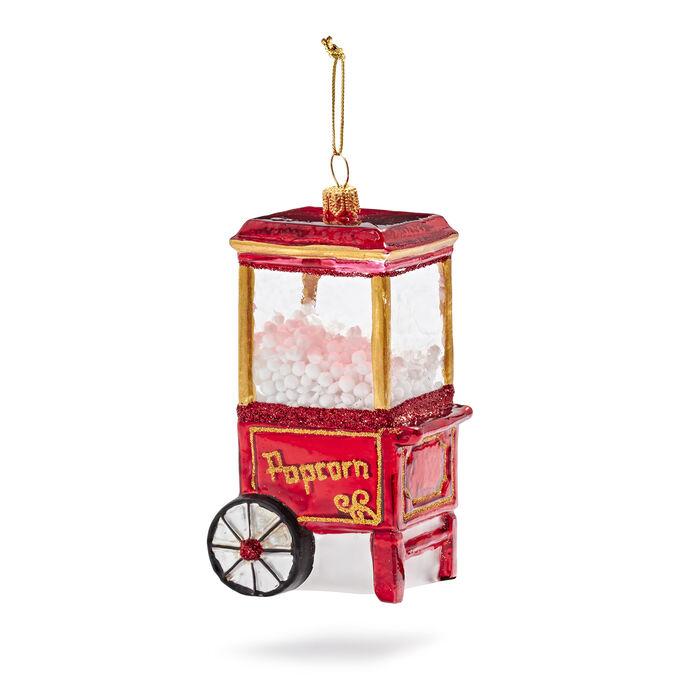 Vintage Popcorn Machine Glass Ornament