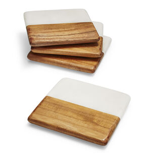 Marble and Wood Coasters, Set of 4