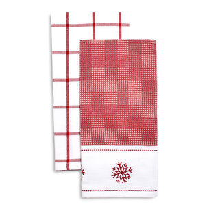 Snowflake Embroidered Waffle Kitchen Towels, Set of 2