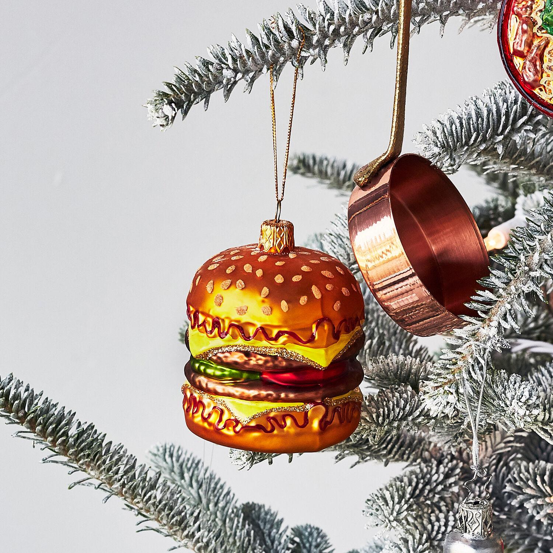 NEW SUR la TABLE CHEESEBURGER Sandwich Glass Blown Ornament Xmas Poland