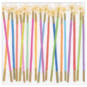 Candles Multi Cocktail Napkins, Set of 20