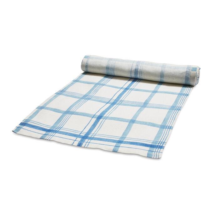 """Blue Plaid Linen Table Runner, 108"""" x 16"""""""