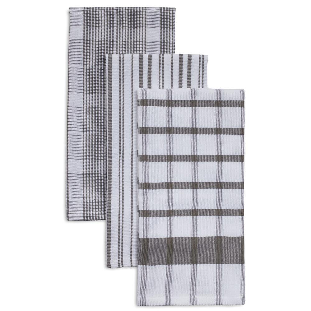 "Assorted Twill Kitchen Towels, 28"" x 20"", Set of 3"