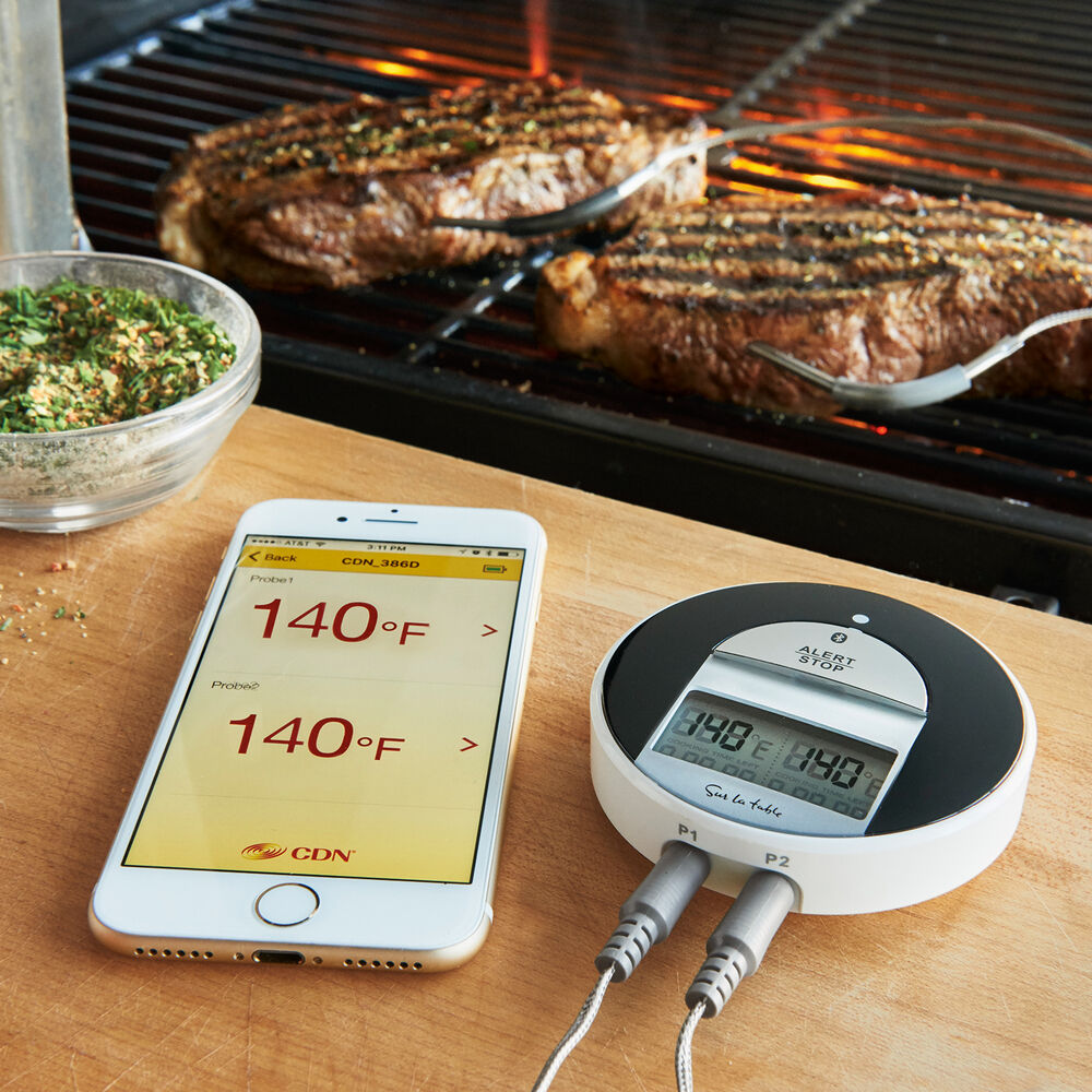 Sur La Table Bluetooth Dual-Probe BBQ Thermometer & Timer