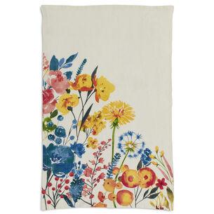 """Multicolor Floral Linen Kitchen Towel, 28"""" x 18"""""""