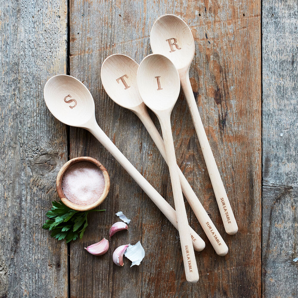 Sur La Table Beechwood Monogram Spoon