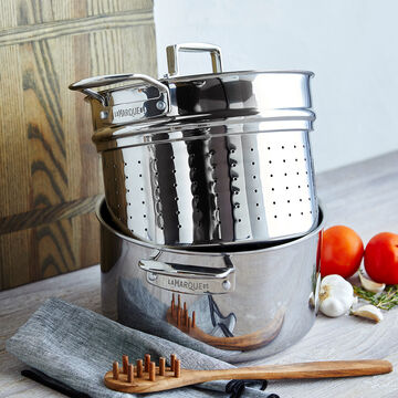 Sur La Table La Marque 84 Stainless Steel Stockpot with Pasta Insert, 8 qt.