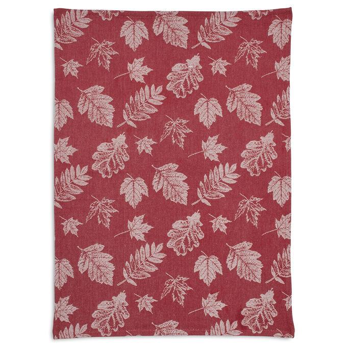 "Burgundy Jacquard Leaf Kitchen Towel, 28"" x 20"""