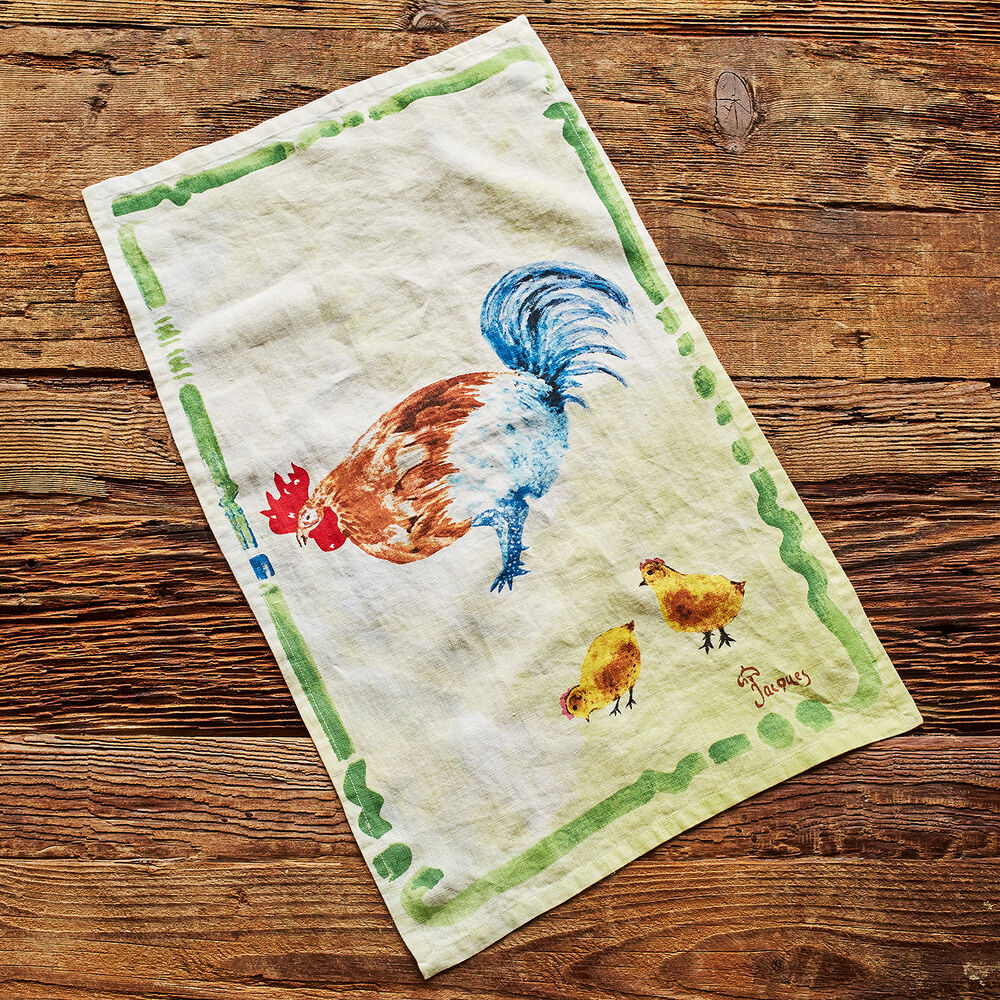 "Jacques Pépin Collection Chicken with Chicks Linen Kitchen Towel, 28"" x 18"""
