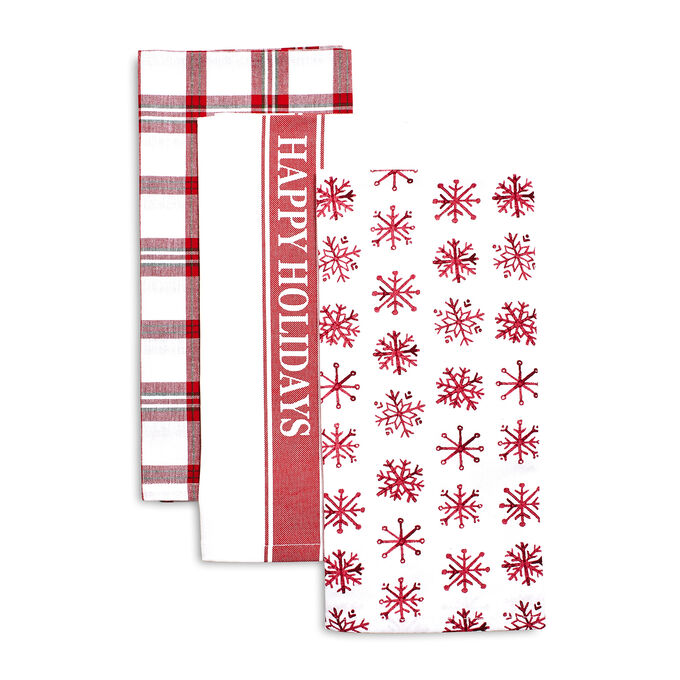 Happy Holidays Kitchen Towels, Set of 3