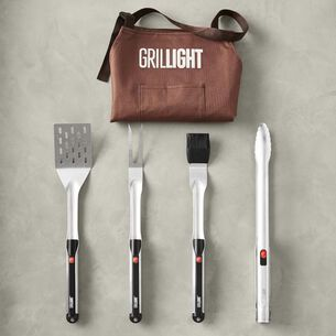Grillight 4-Piece Stainless Steel Tool Set with Magnetic Apron