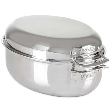 Viking 3-Ply Stainless Steel Oval Roaster with Rack, 8.5 qt.