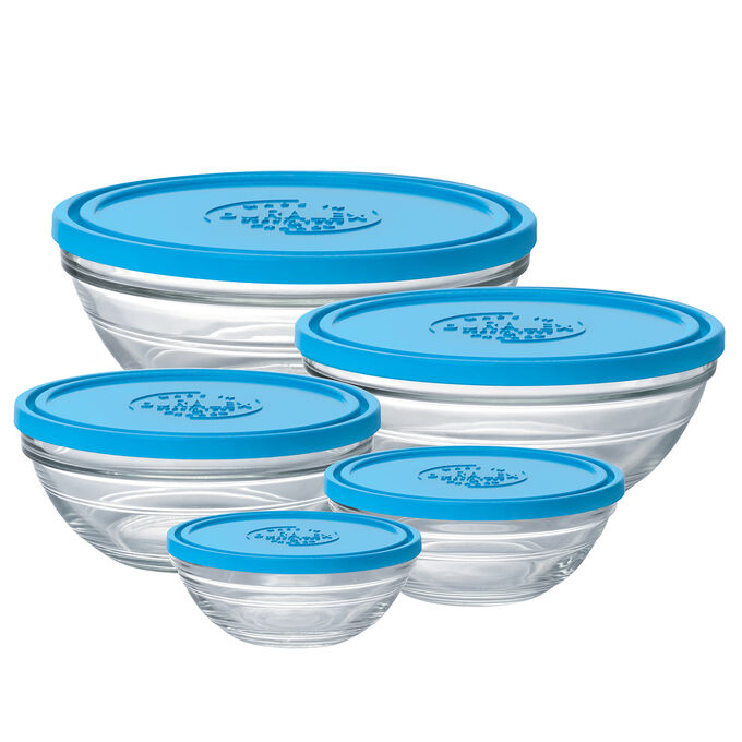 Duralex Lys Clear Stackable Bowls with Lids, Set of 5