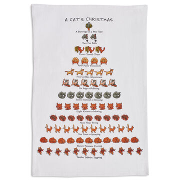 "The Cat Lover's 12 Days of Christmas Flour Sack Towel, 26"" x 18"""